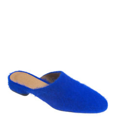 AnnaKastle Womens Fuzzy Angora Mule Loafers Blue