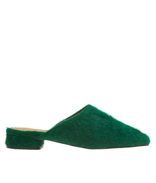 AnnaKastle Womens Fuzzy Angora Mule Loafers Green