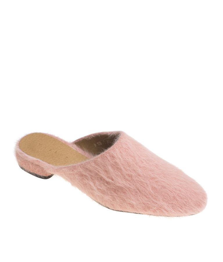 AnnaKastle Womens Fuzzy Angora Mule Loafers Pink