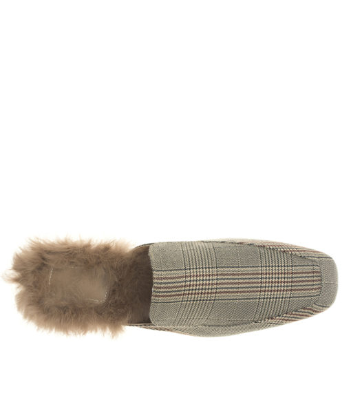 Fur lined Beige Plaid Fabric Mule Loafers