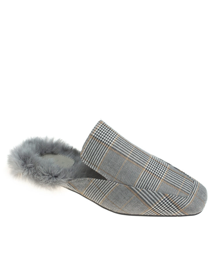Fur lined Gray Plaid Fabric Mule Loafers