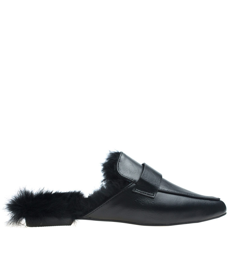 AnnaKastle Womens Fur Lined Backless Penny Loafers Black