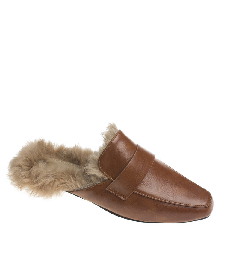 AnnaKastle Womens Fur Lined Backless Penny Loafers Brown