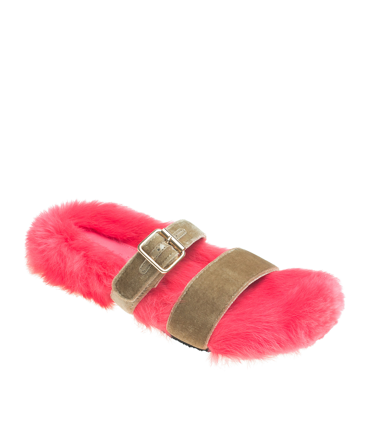 AnnaKastle Womens Vivid Fur Covered Dual Band Slides Beige+NeonPink
