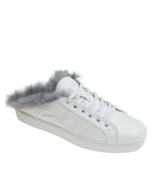 AnnaKastle Womens Gray Fur Lined White Mule Sneakers
