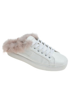 AnnaKastle Womens Pink Fur Lined White Mule Sneakers