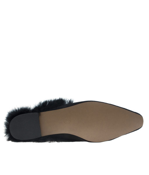 AnnaKastle Womens Pointy Toe Fur Lined Dress Mules Black