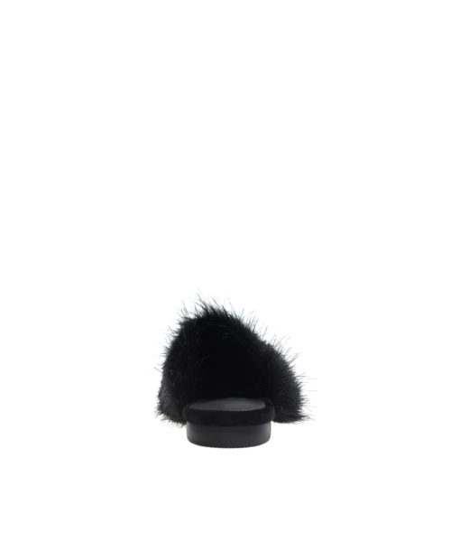 AnnaKastle Womens Pointy Toe Faux Fur Front Dress Mules Black