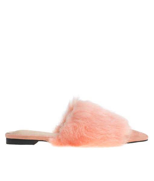 AnnaKastle Womens Pointy Toe Faux Fur Front Dress Mules Coral Pink
