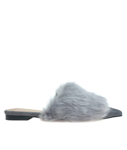 AnnaKastle Womens Pointy Toe Faux Fur Front Dress Mules Gray
