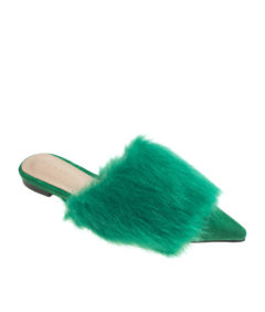 AnnaKastle Womens Pointy Toe Faux Fur Front Dress Mules Green