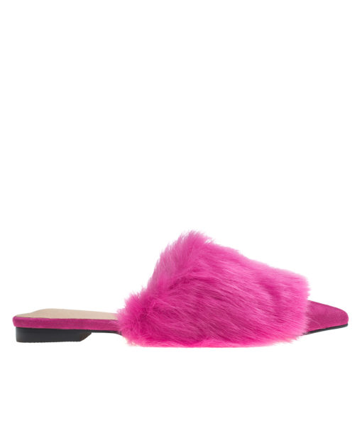AnnaKastle Womens Pointy Toe Faux Fur Front Dress Mules Hot Pink