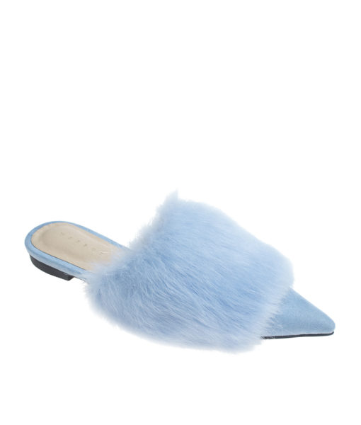 AnnaKastle Womens Pointy Toe Faux Fur Front Dress Mules Light Blue