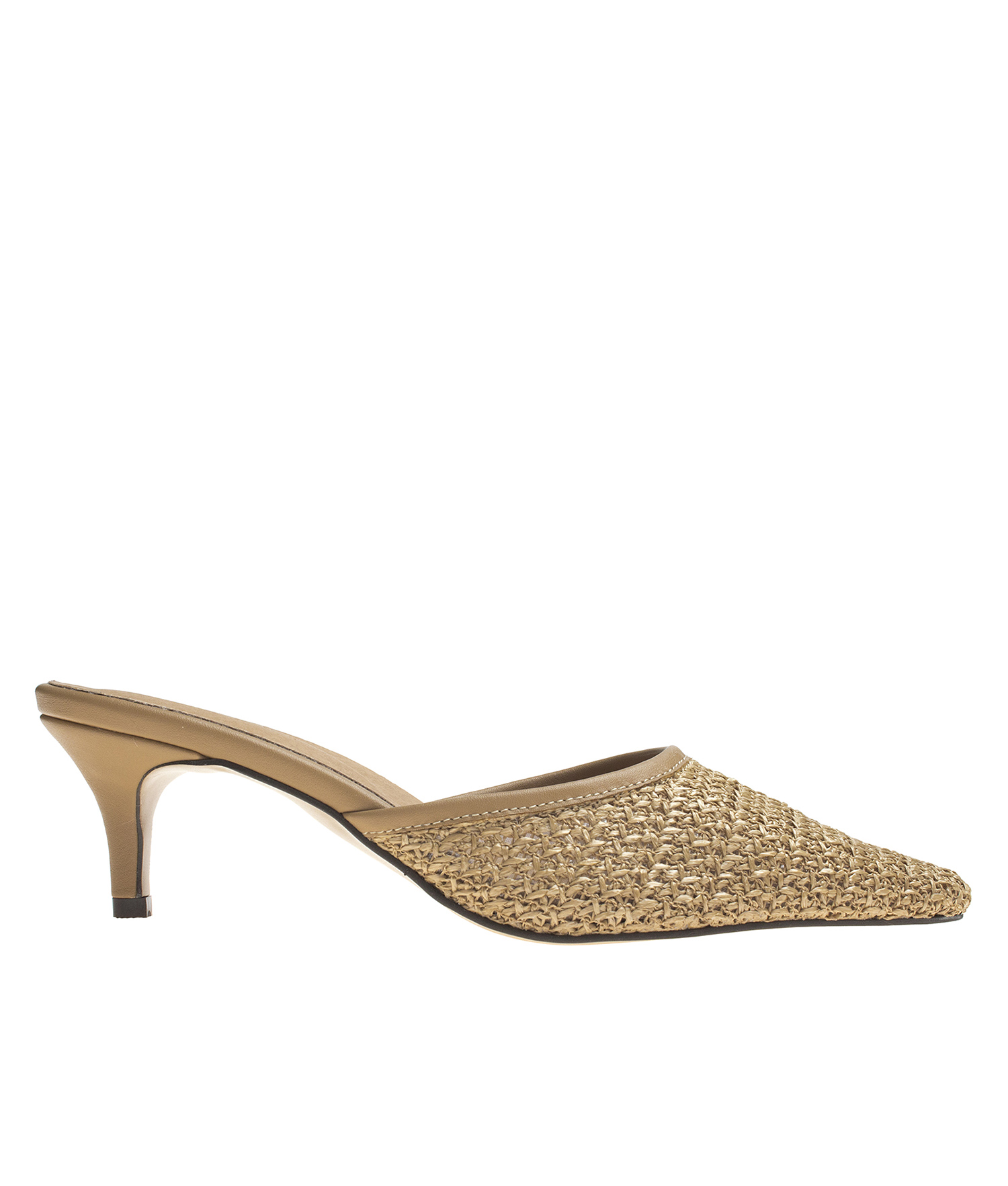 AnnaKastle Womens Pointy Toe Woven Mule Sandals Light Brown