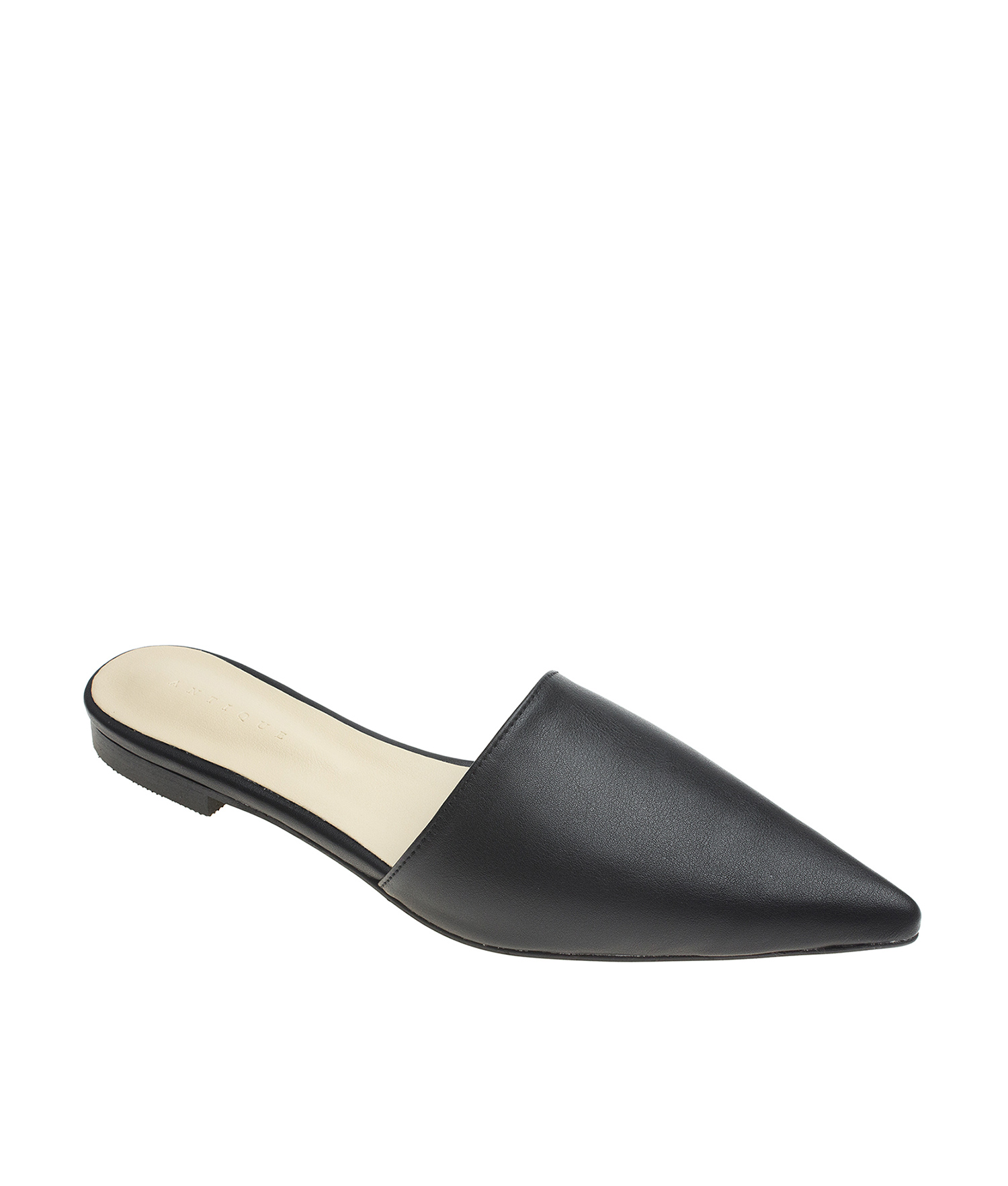AnnaKastle Womens Sleek Pointed Toe Mule Flats Black