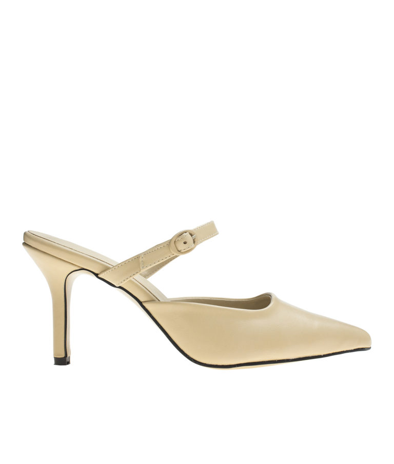 AnnaKastle Womens Mary Jane Heel Mules Beige
