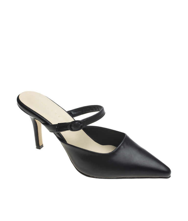 AnnaKastle Womens Mary Jane Heel Mules Black