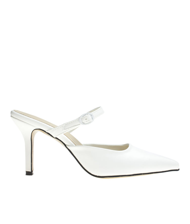AnnaKastle Womens Mary Jane Heel Mules White