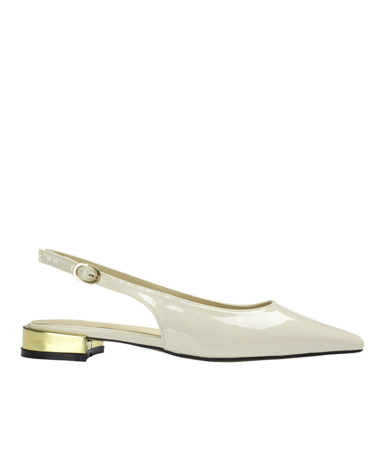 AnnaKastle Womens Shiny Faux Patent Slingback Flats Beige