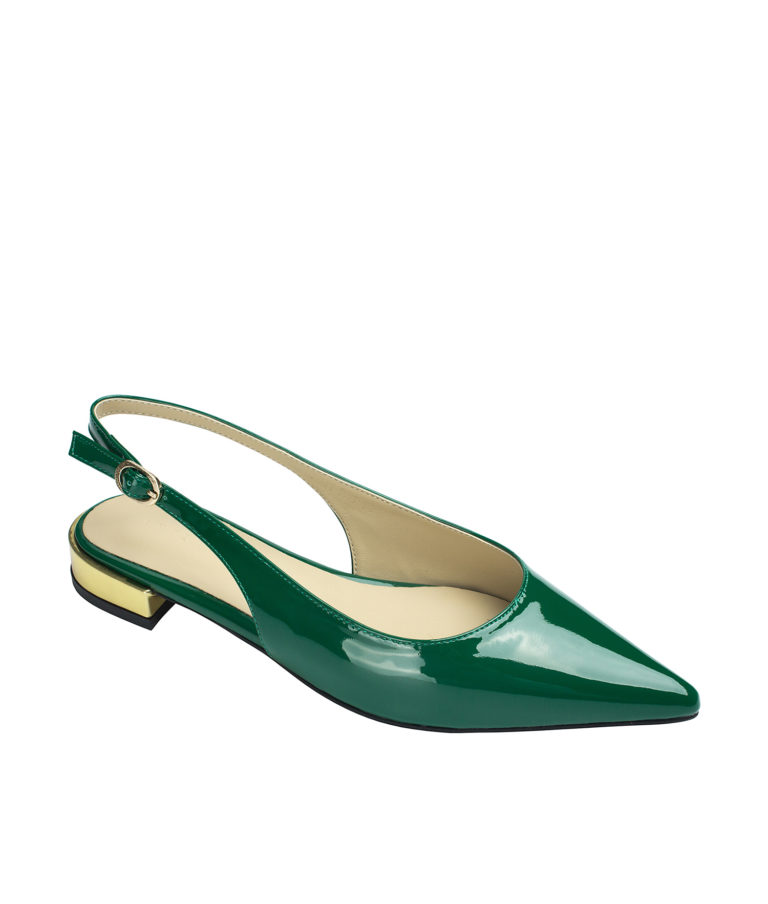 AnnaKastle Womens Shiny Faux Patent Slingback Flats Green
