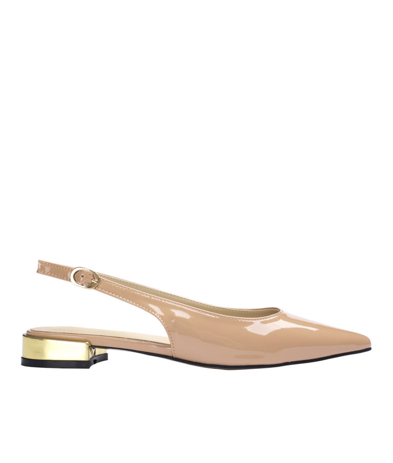 AnnaKastle Womens Shiny Faux Patent Slingback Flats Nude Pink