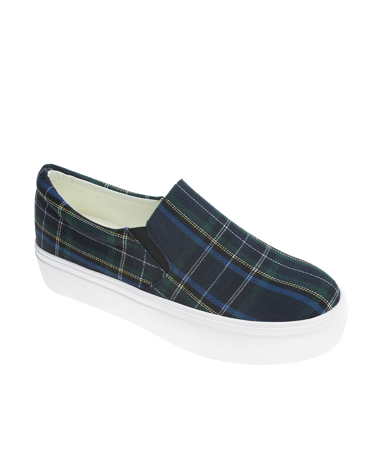 AnnaKastle Womens Tartan Plaid Slip On Sneakers Navy