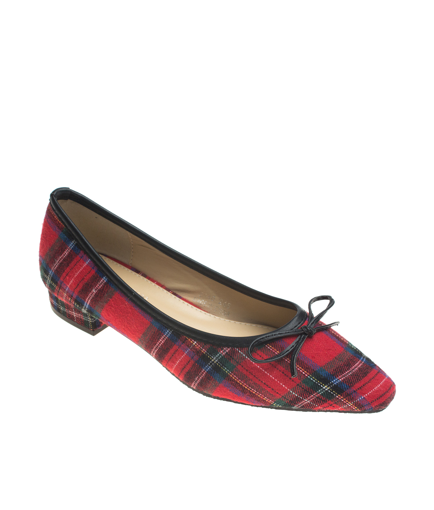 AnnaKastle Womens Pointy Toe Tartan Plaid Ballet Flats Red