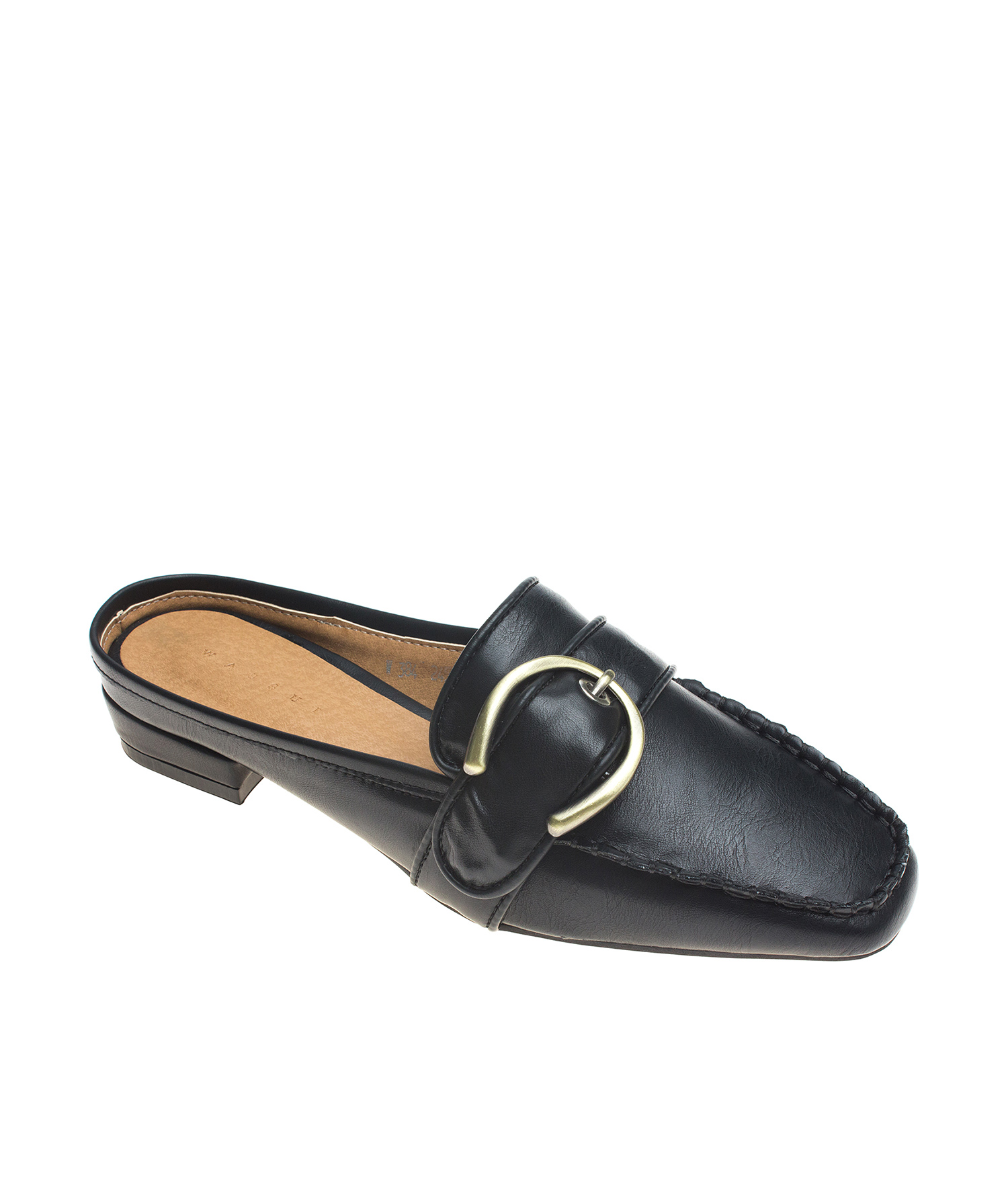 AnnaKastle Womens Buckled Mule Moccasins Black