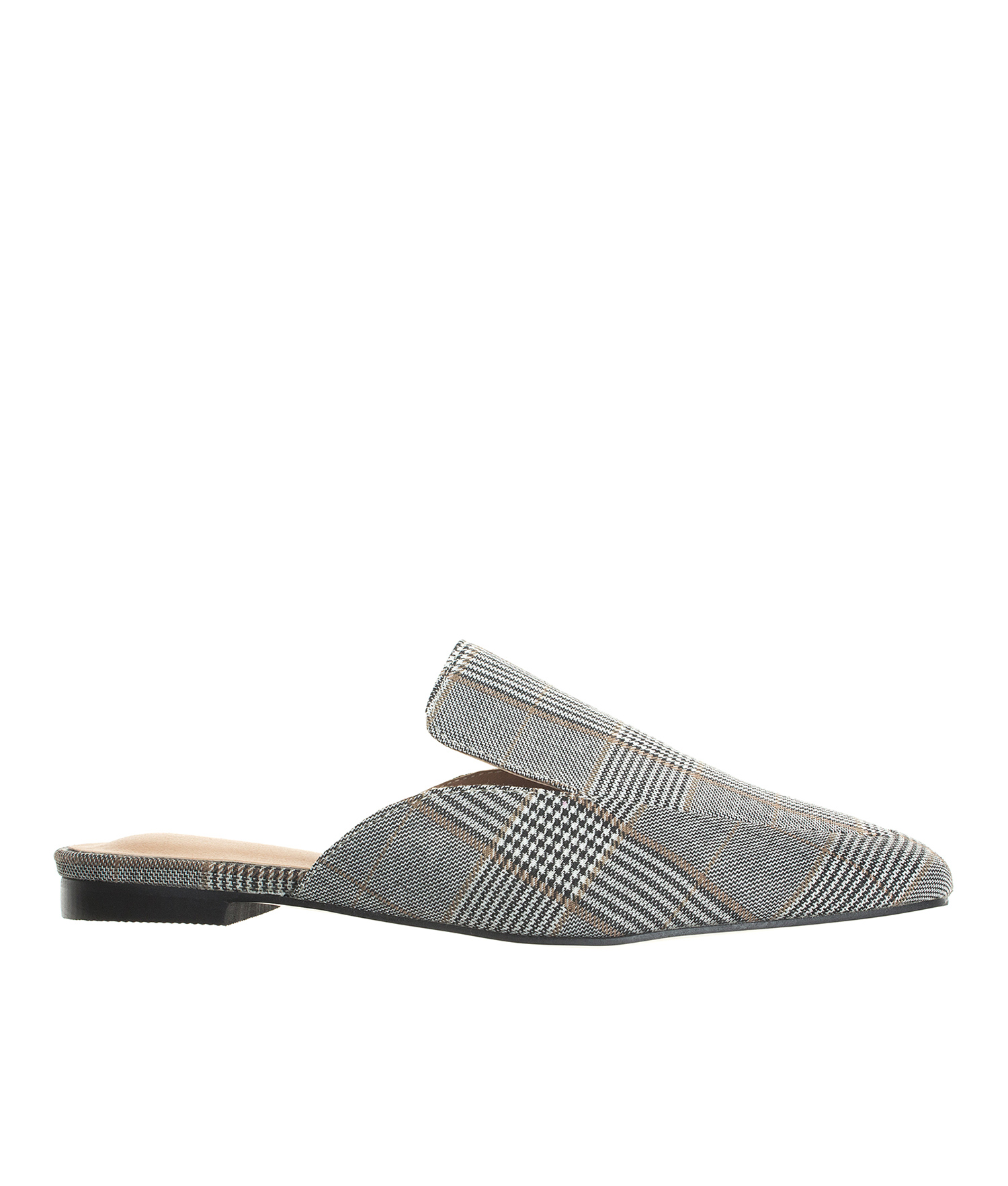 AnnaKastle Womens Gray Plaid Mule Slippers