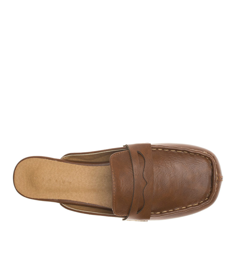 AnnaKastle Womens Squared Toe Penny Loafer Mules Brown
