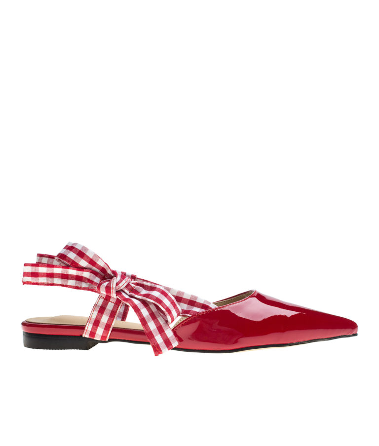 AnnaKastle Womens Pointy Toe Gingham Slingback Sandals Red