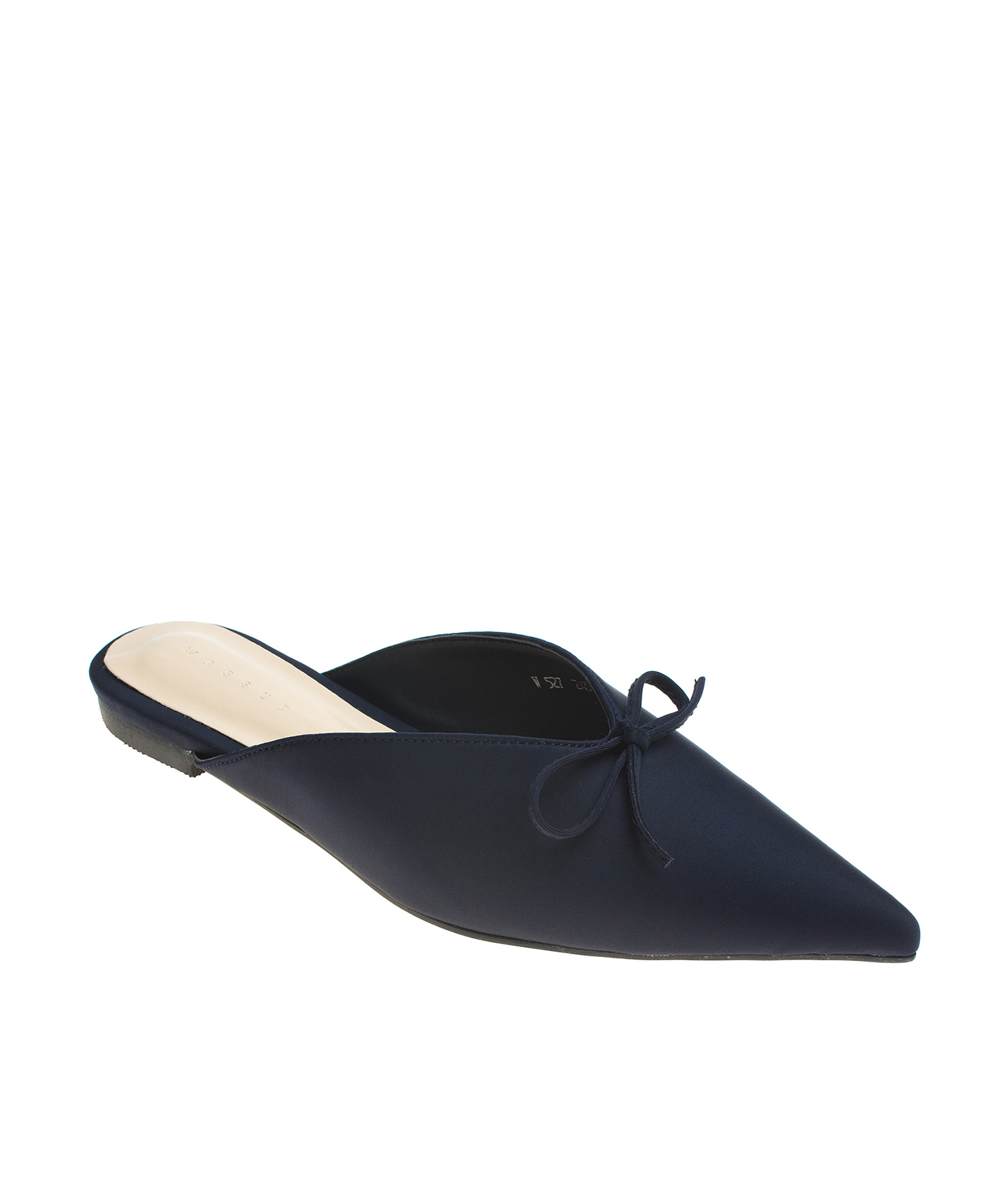 AnnaKastle Womens Pointy Toe Bow Mule Slides Navy