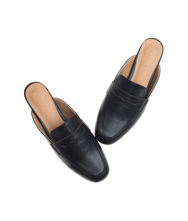 AnnaKastle Womens Classic Backless Penny Loafers Black