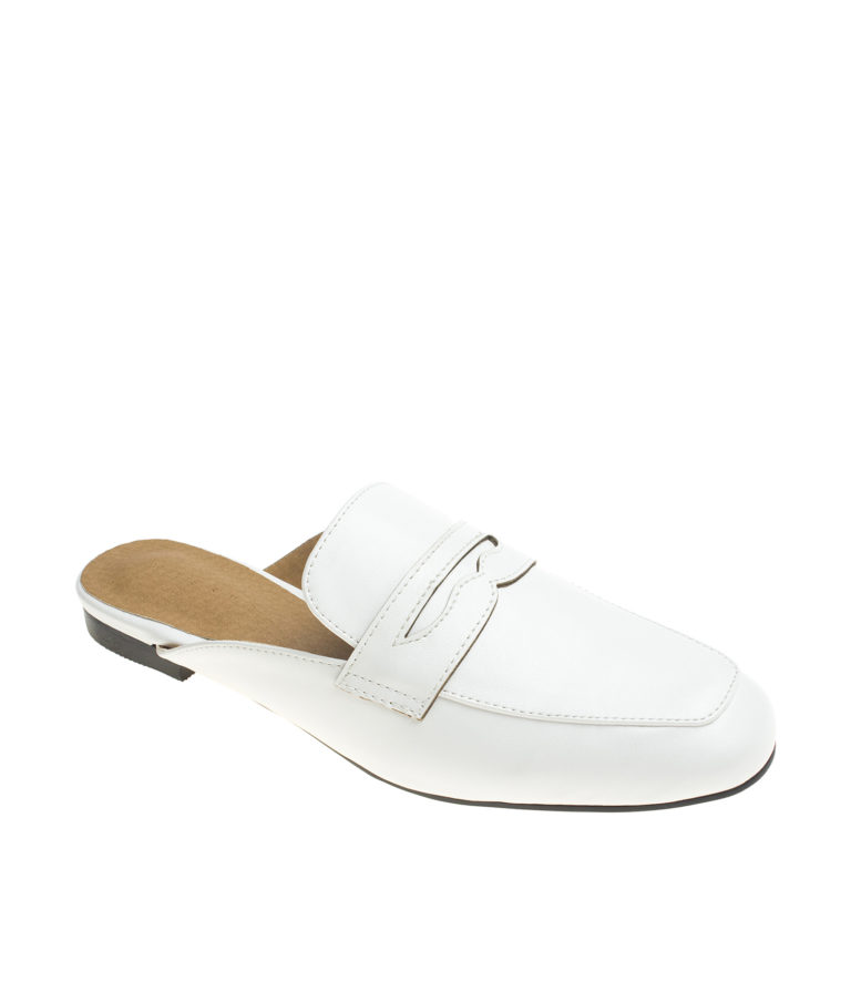 AnnaKastle Womens Classic Backless Penny Loafers White