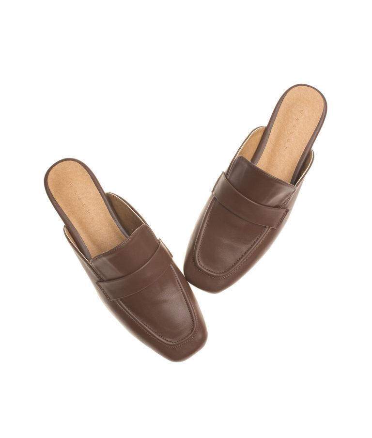 AnnaKastle Womens Vegan Leather Penny Loafer Slippers Brown