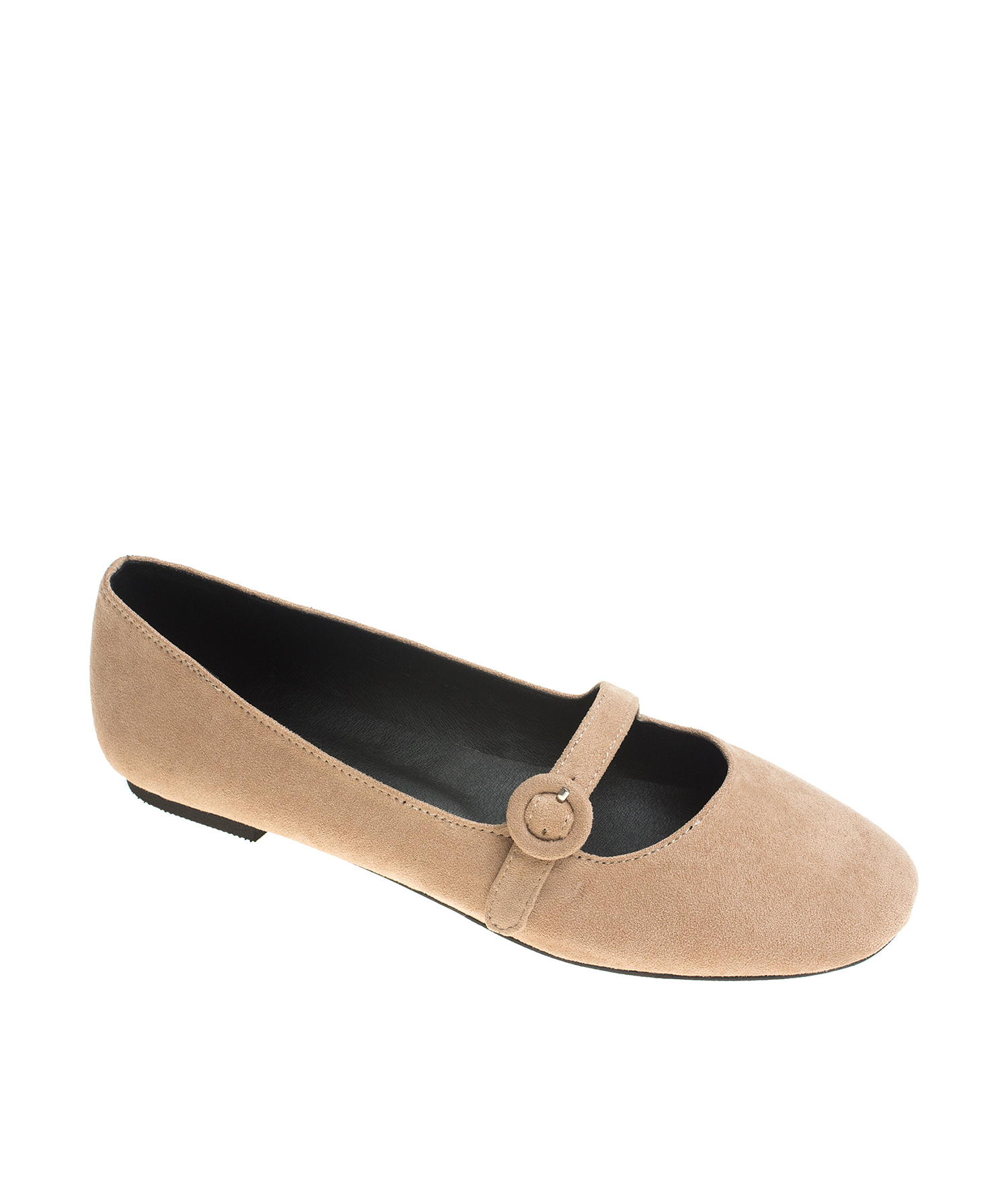 AnnaKastle Womens Suede Mary Jane Ballerina Flats ApricotBeige