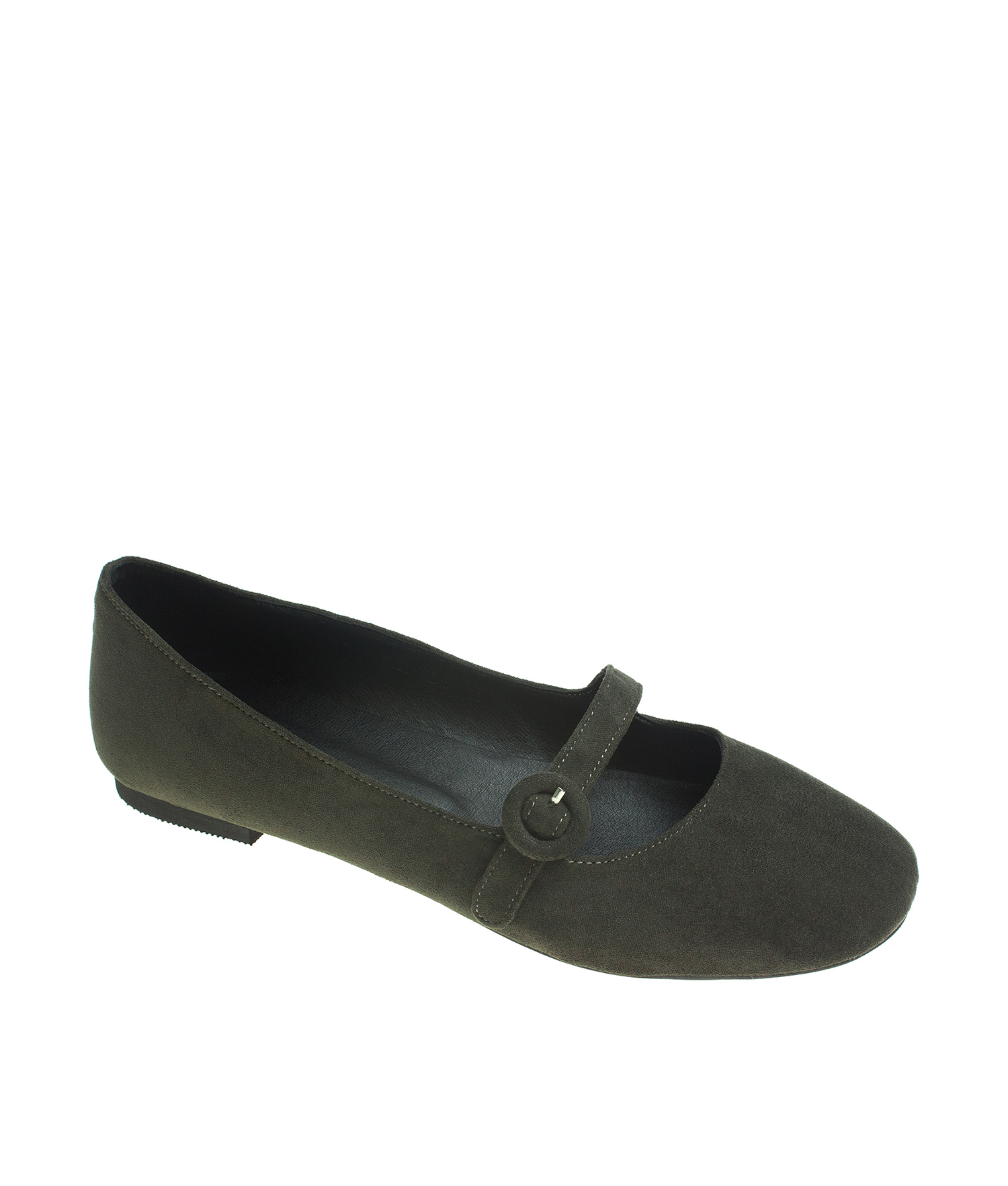 AnnaKastle Womens Suede Mary Jane Ballerina Flats KhakiGreen