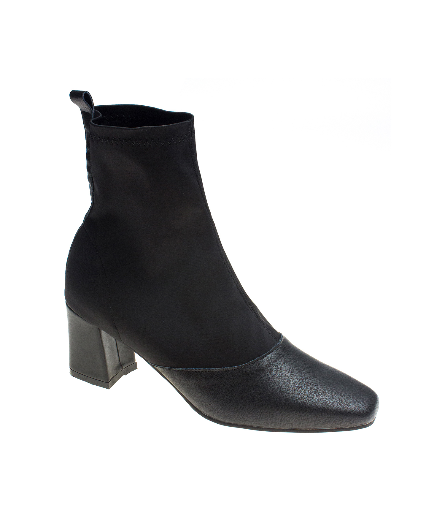 5bea4e0d24546 AnnaKastle Womens Stretch Shaft Leather Heel Boots Booties Black