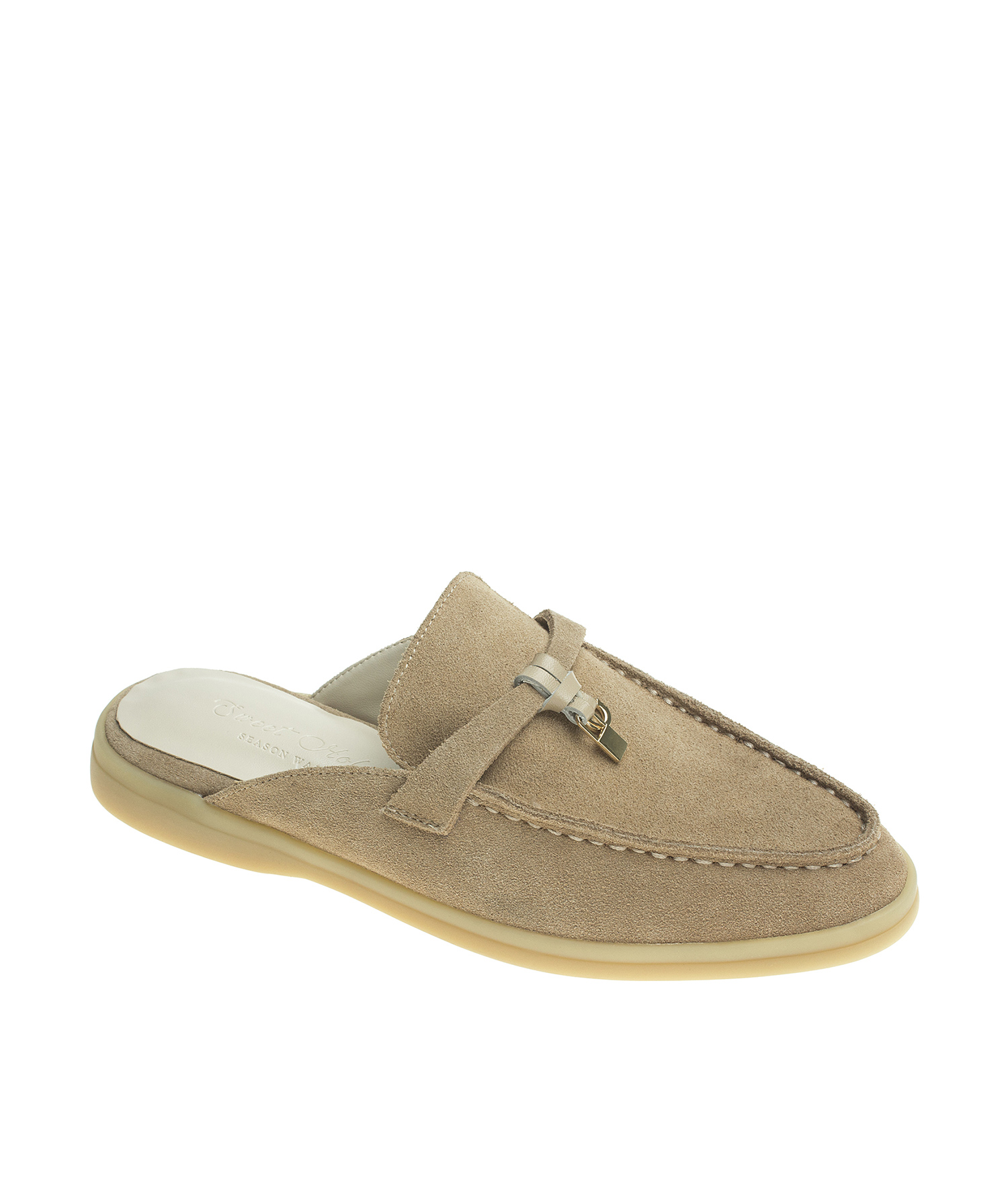 5c83b57a1a74 Suede Leather Sleek Toe Backless Loafer Mule - annakastleshoes.com