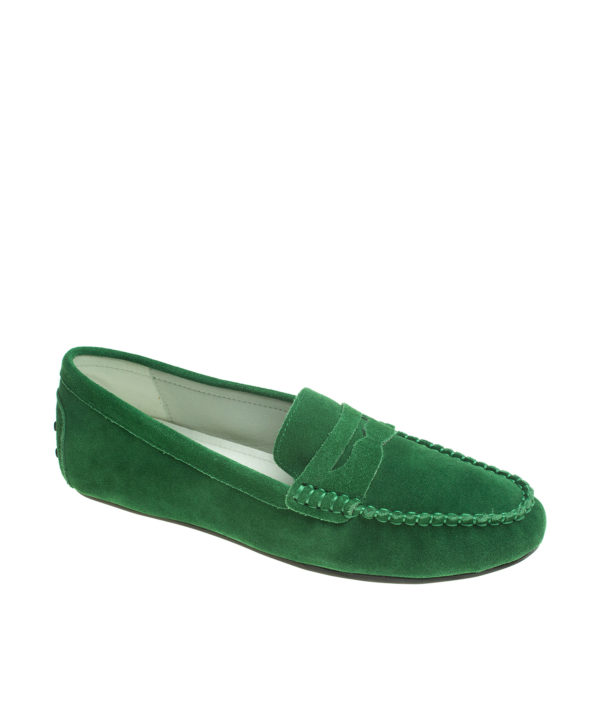 2288ab7a1cf AnnaKastle Womens Classic Suede Leather Driving Shoes Penny Loafer Moccasin  Green