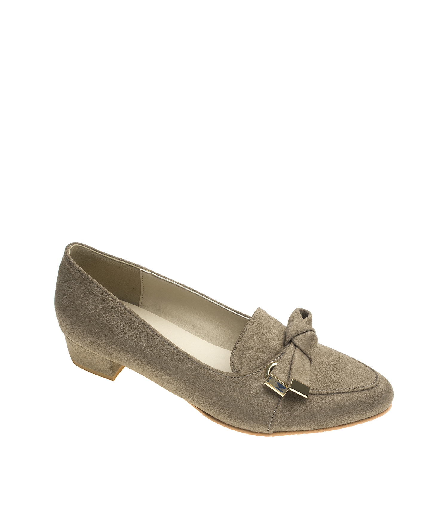 79eab61b5fc2 AnnaKastle Womens Knotted Bow Block Heel Loafer Pumps Beige