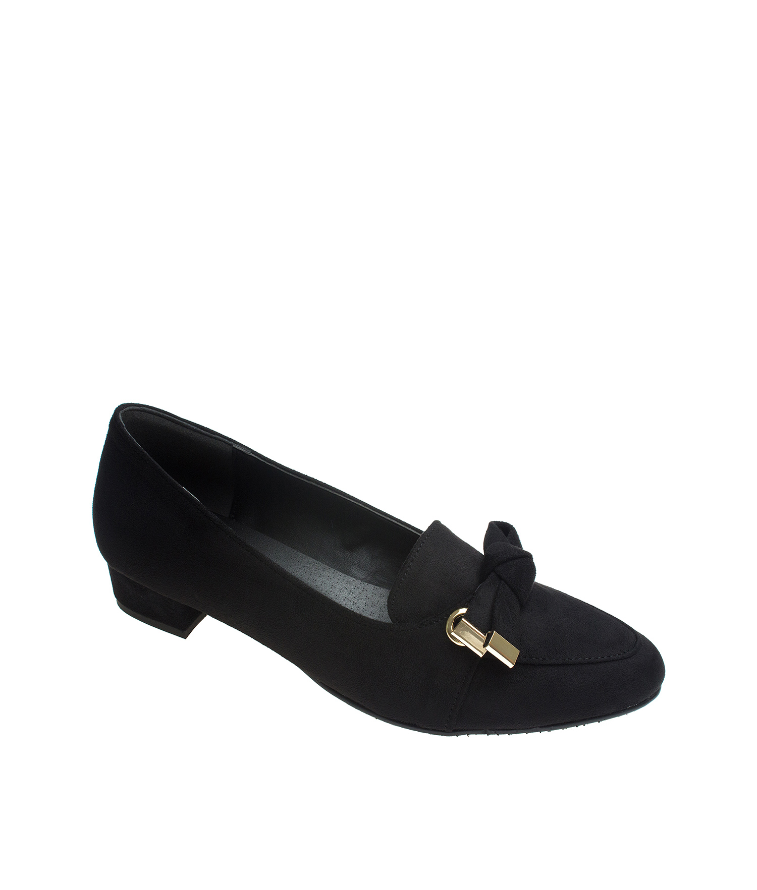 2d3df84a3fbd AnnaKastle Womens Knotted Bow Block Heel Loafer Pumps Black
