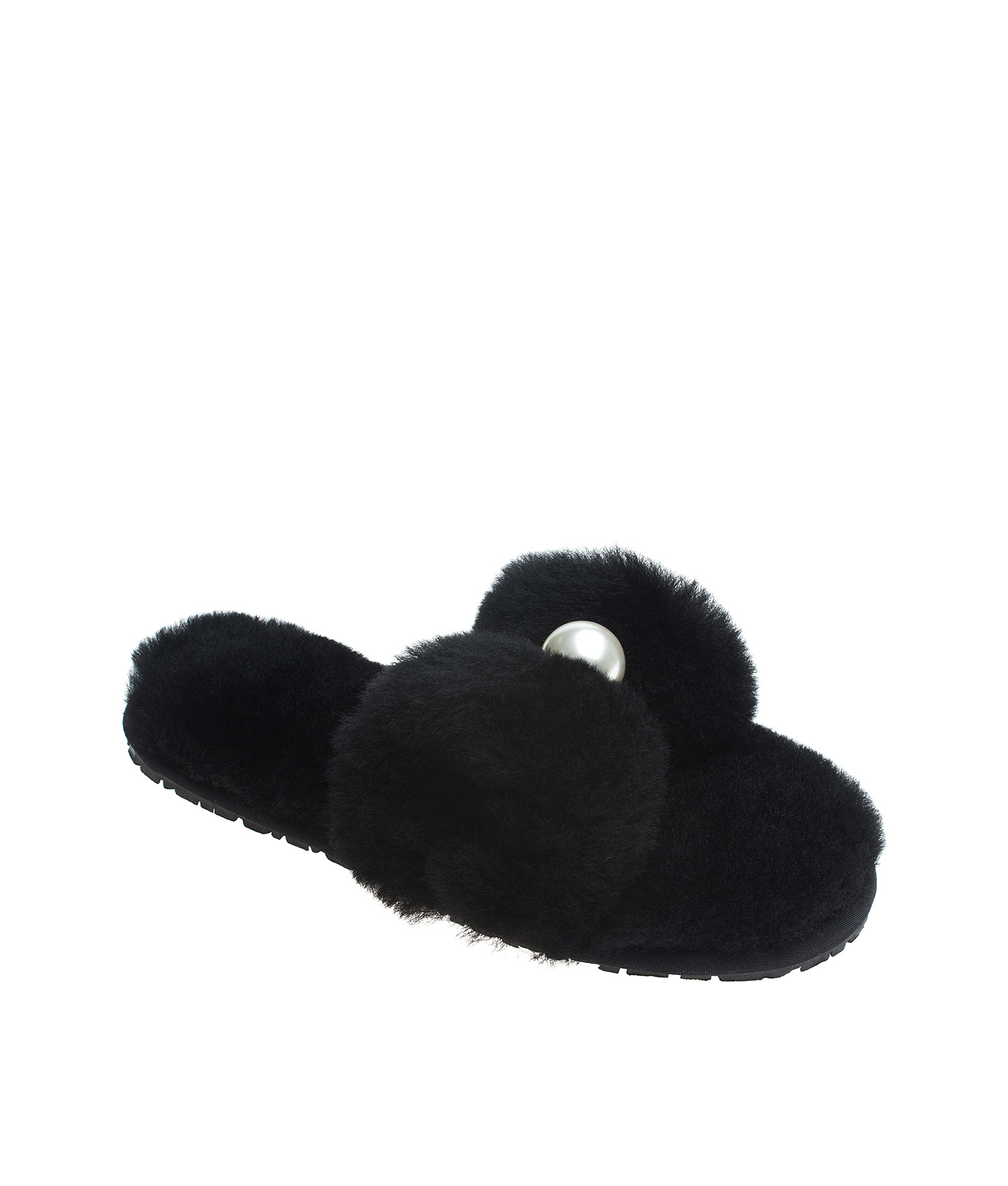 110a3dcdc1a AnnaKastle Womens Faux Pearl Bow Fluffy Slide Slippers Black