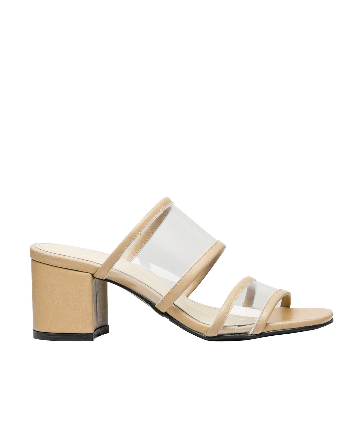 Double Clear Strap Mule Heel Sandals Annakastleshoes Com