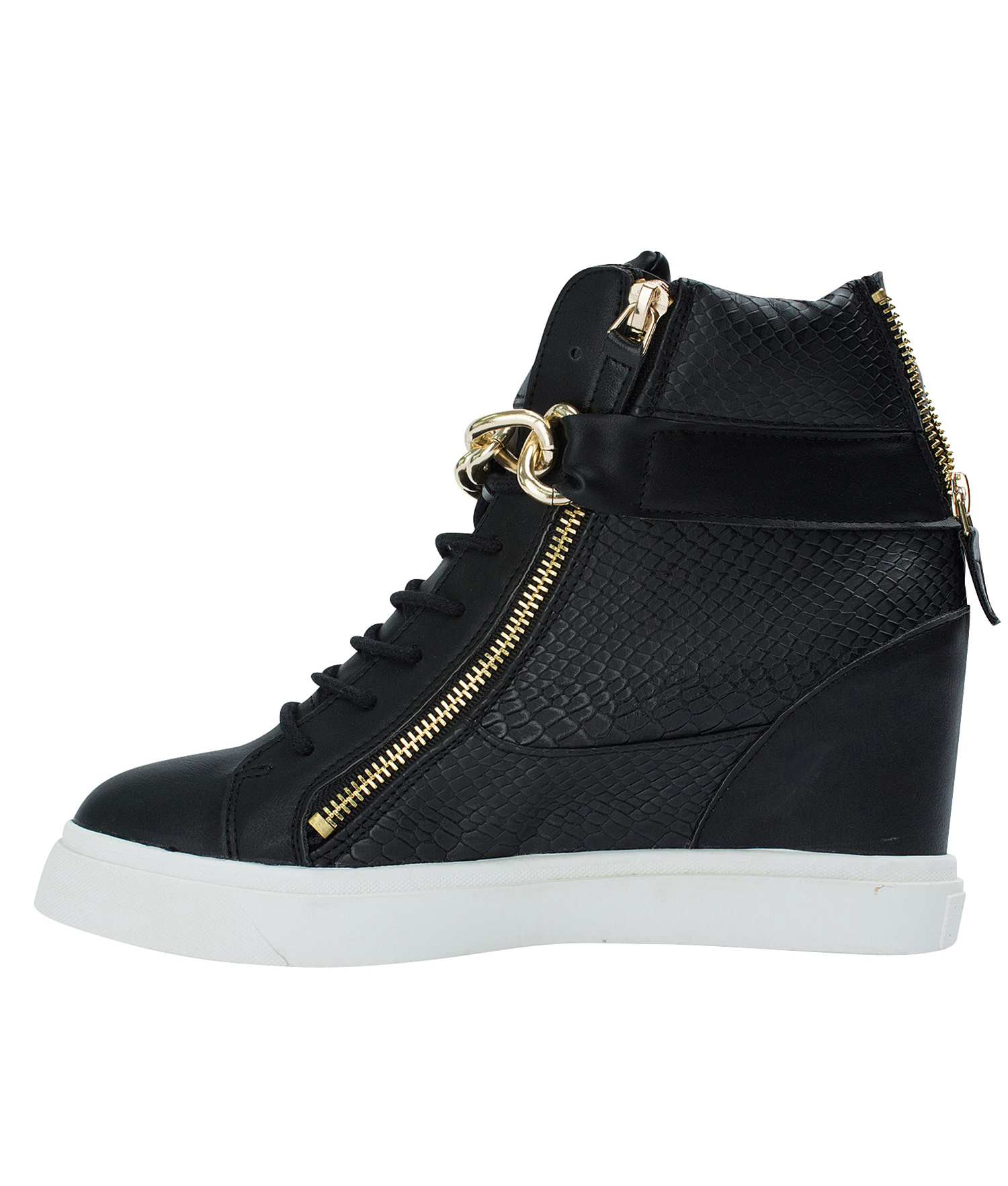 a430726d8ab7 AnnaKastle Womens Gold Chain High Top Wedge Sneakers Black