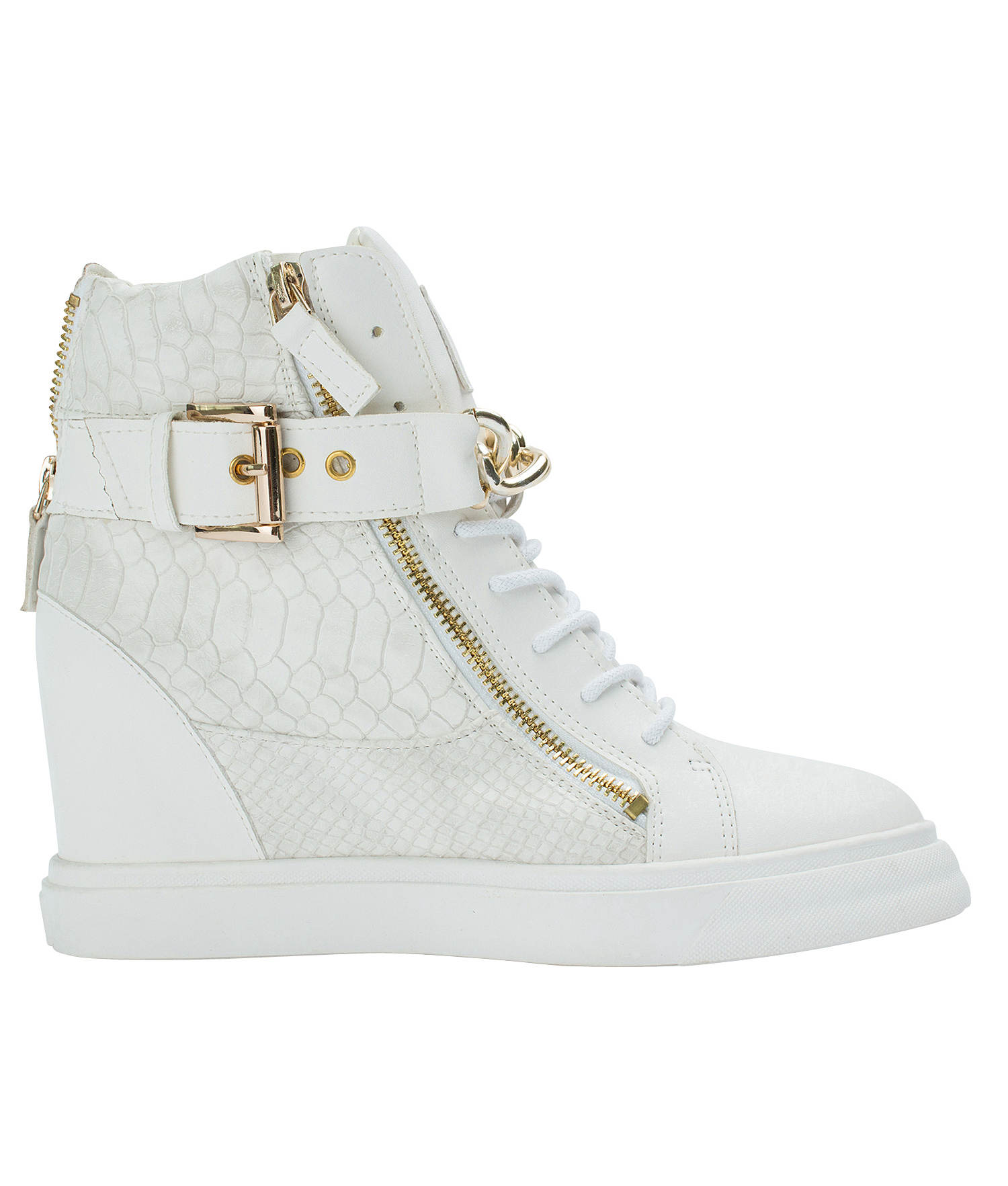 AnnaKastle Womens Gold Chain High Top Wedge Sneakers White 1ee3c1b81