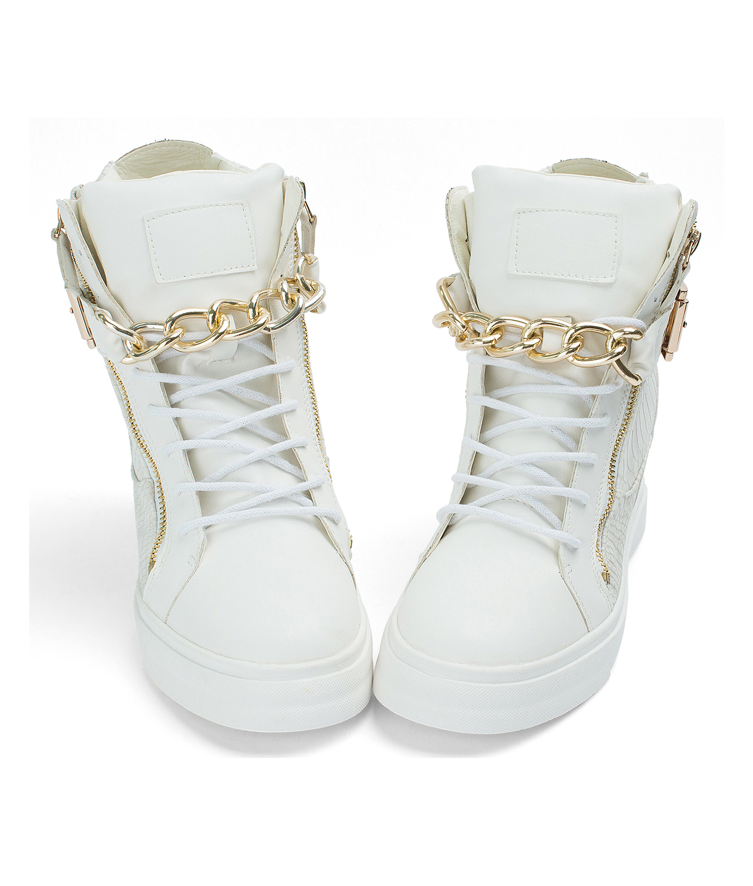 Gold Chain High Top Wedge Sneakers Annakastleshoes Com