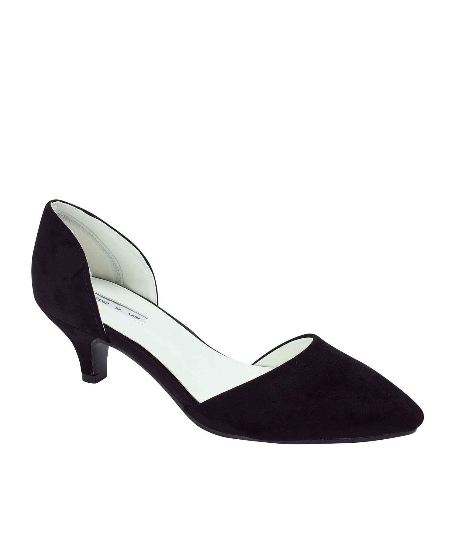 5a5a2cc5c730 Faux Suede d Orsay Kitten Heels. AnnaKastle Womens Square Toe Low Heel  Pumps Black