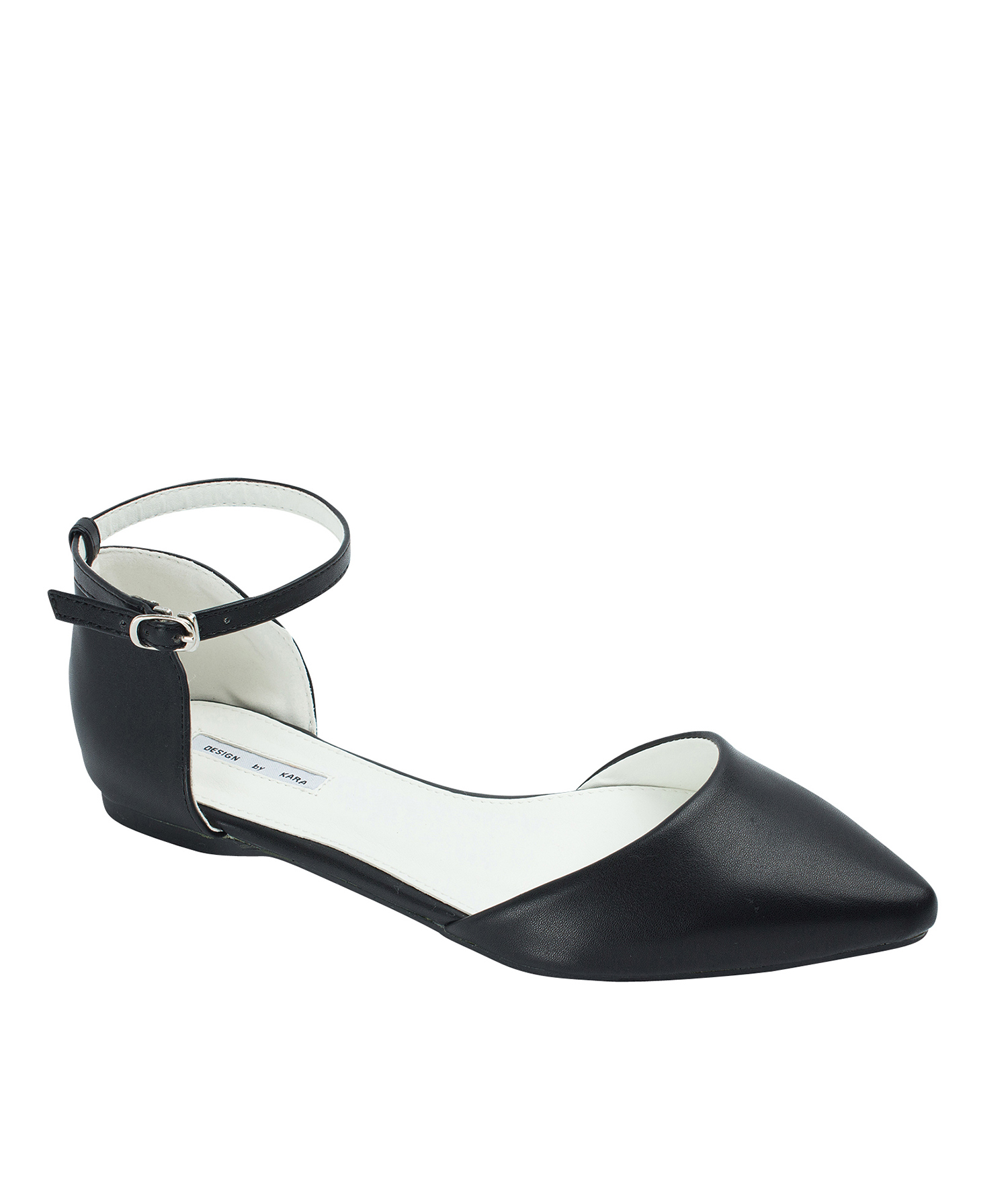7bc5b8258db69 AnnaKastle Womens Pointed Toe Ankle-Strap d'Orsay Flats Black