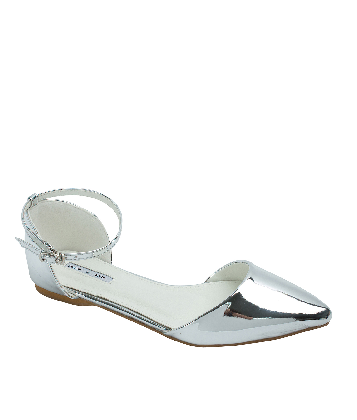 48c30bc939c49 AnnaKastle Womens Pointed Toe Ankle-Strap d Orsay Flats Silver